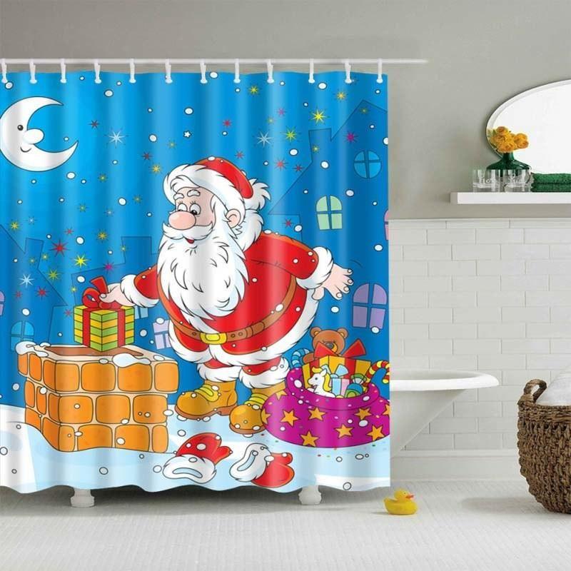 Christmas Shower Curtain Santa Claus Snow Man Tree Clear Printed