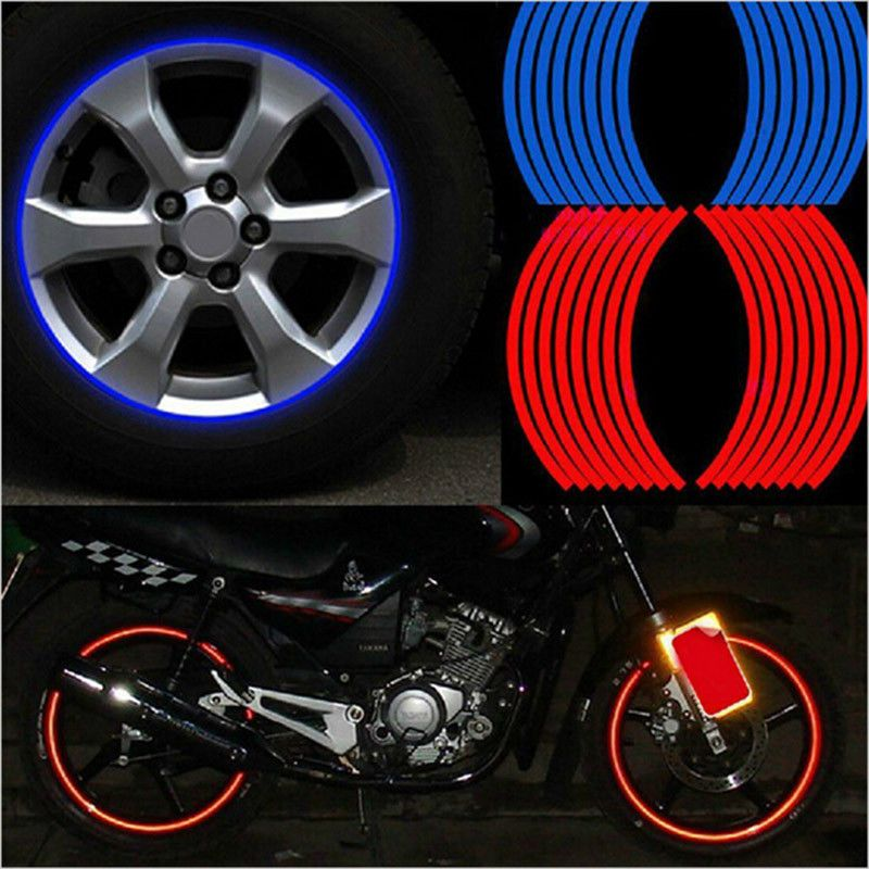 17/'/'-18/'/' Wheel Rim Strips Motorcycle Car Wheel Tire Stickers Reflective Tape ~
