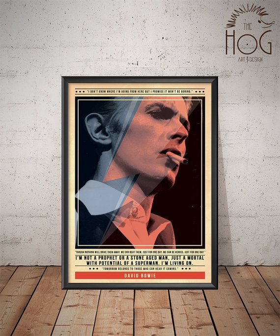Vintage David Bowie Poster Art Print Black /& White Card or Canvas