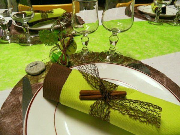 decoration table mariage vert et chocolat