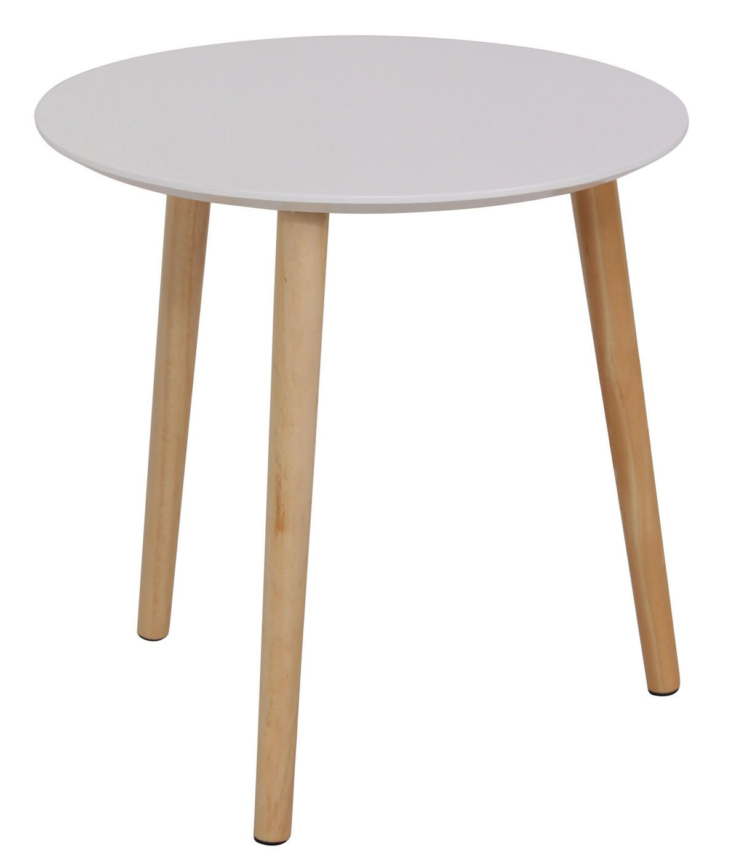 Kleiner Runder Beistelltisch Mit Oberflache In Weiss Und Holz Fussen Beistelltisch Tisch Wohnzimmertische
