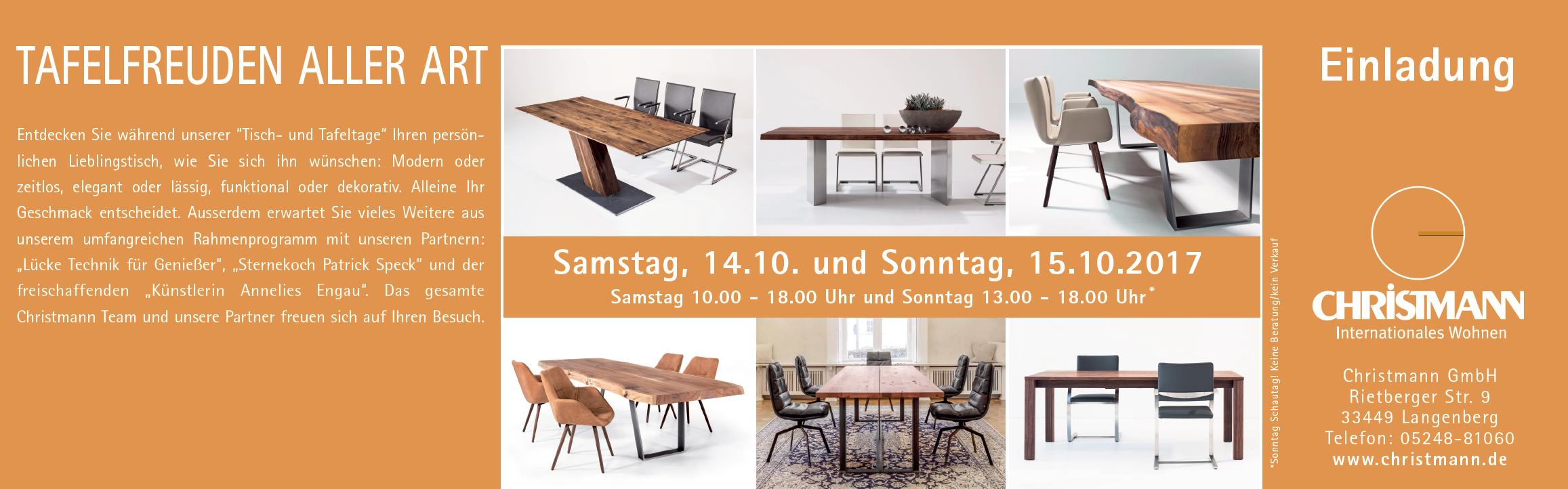 Einladung Zu Unseren Tisch Und Tafeltagen Kommt Vorbei Wir Freuen Uns Auf Euch Christmannwohnen Aktion Tisch Ta Christen Design Einrichtungsideen