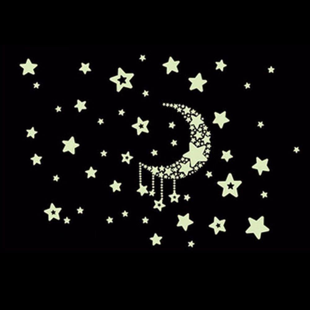 Glow In The Dark Luminous Heart Stars Moon Constellation Wall Sticker Decals ONE
