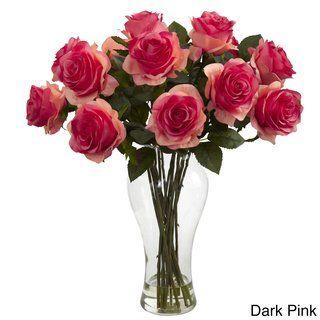 Nearly Natural Blooming Roses In Vase Blooming Roses W Vase Dark Pink Rose Centerpieces Silk Flower Arrangements Flower Arrangements