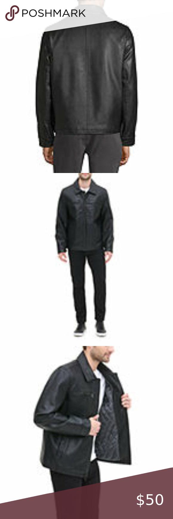 Dockers Faux Leather Zipper Jacket Mens Size M in 2020