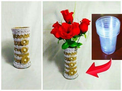 Diyflower Pot From Disposable Plastic Glass Youtube Botellas