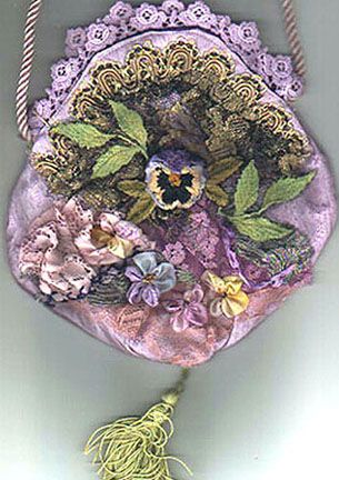I ❤ ribbon embroidery . . . lovely lavender bag.