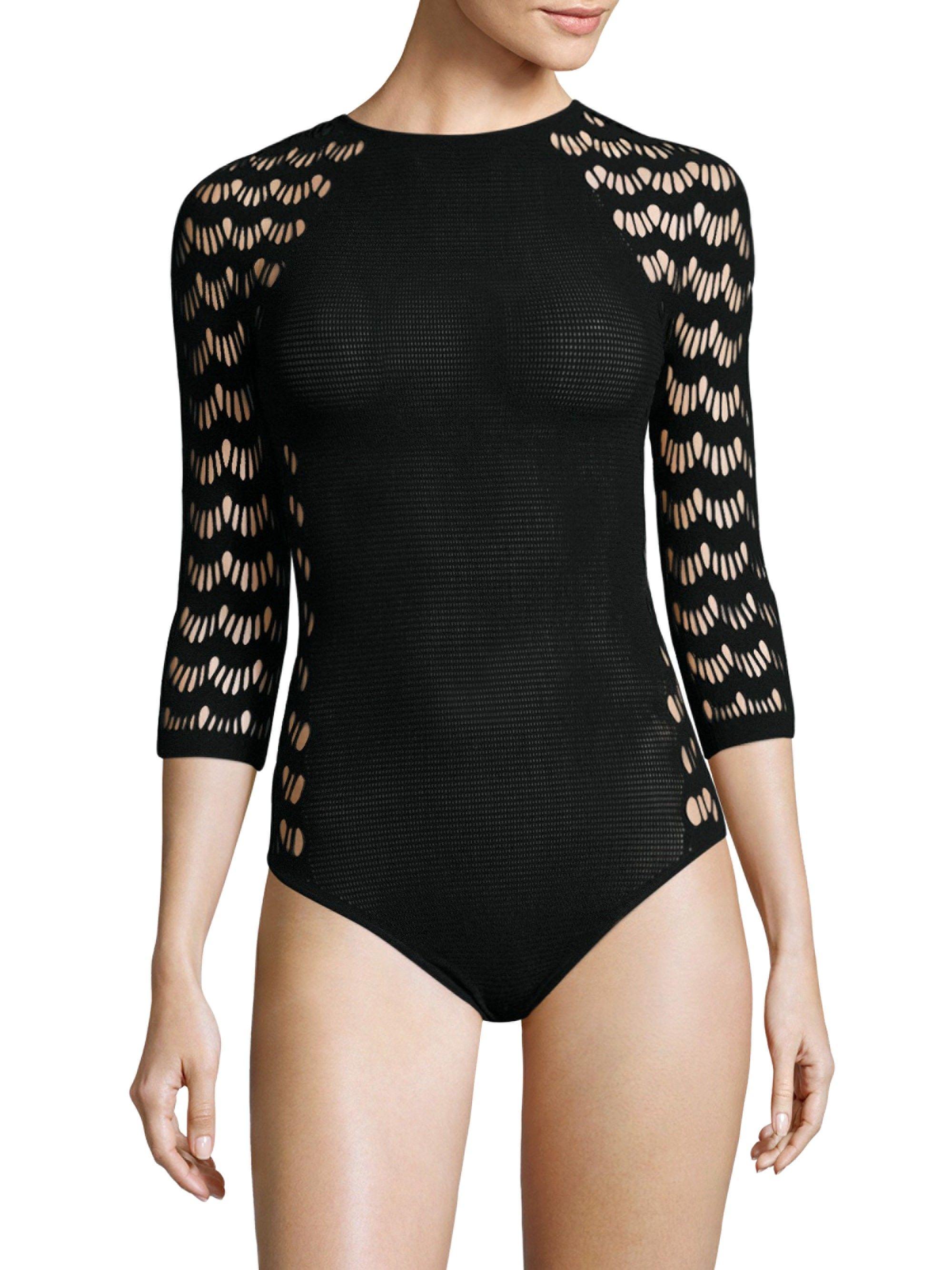 8d9d1445064c1 Wolford Mesh String Bodysuit - Black X-Small