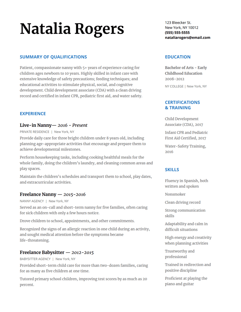 Writing A Nanny Resume Tips And Examples To Help You Land Your Next Job Resume Examples Resume Skills Nanny Job Description