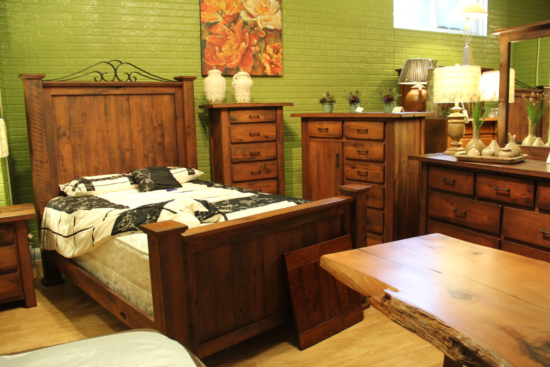 Rustic Style Bed Frame And Matching Night Tables Chests #shopgf Houston Tx