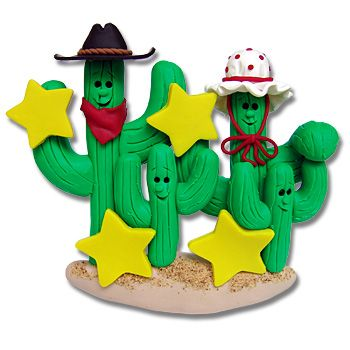 Cactus Family of 4  Personalized Red Cowboy Boot  Personalized Ornament Ornament