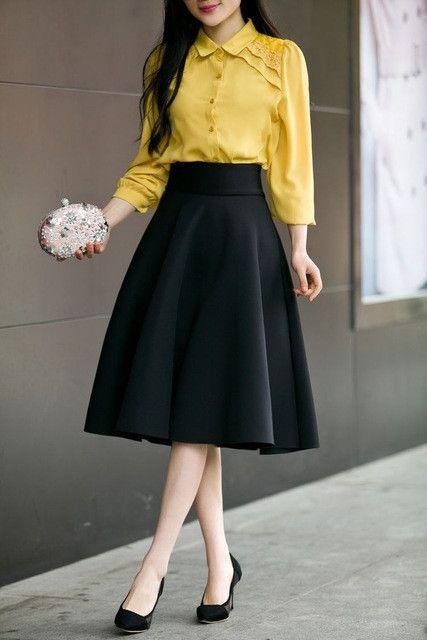 de9212cb18c High Waist Pleat Elegant Skirt Green Black White Knee-Length Flared Skirts  Fashion Women Faldas Saia 5XL Plus Size Ladies Jupe