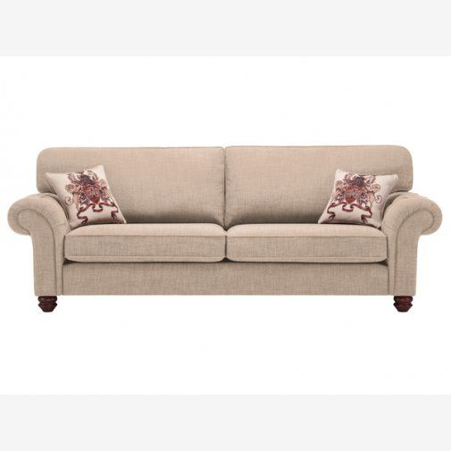 Sectional Sofa Sandringham Seater High Back Sofa in Beige with Beige Scatter