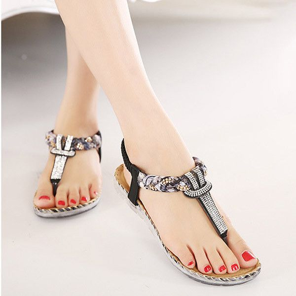 Bohemian Floral Flat Heel Clip Toe Slippers very cheap online best place to buy online low price cheap price from china cheap price Cheapest 7JMgRBuzy