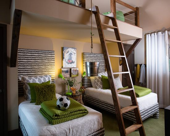 Kids beds with play loft above - found on Houzz.com
