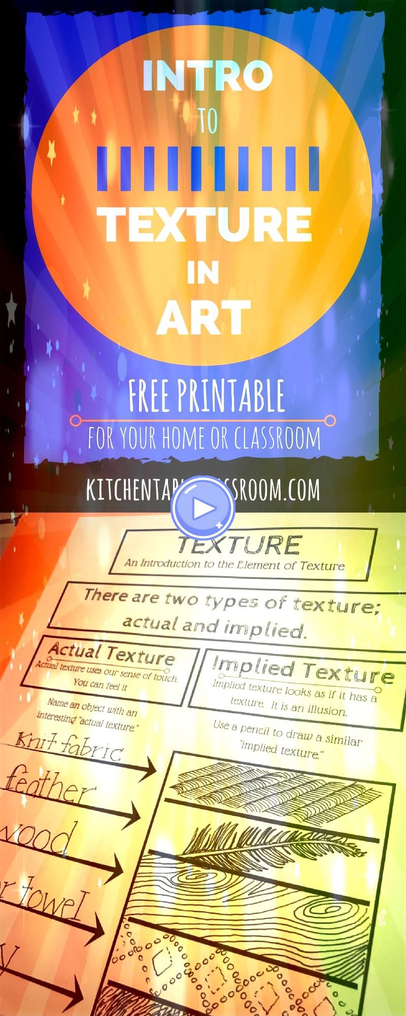 the connection between texture and art ought to be easy  Kids touch everything This intro to the element texture in art comes with a free printab...