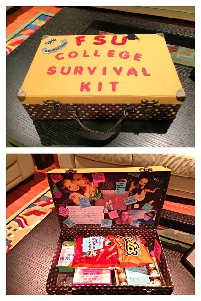 This cute survival kit includes things like pictures, food, movies, notes, and other practical items. It can be found at http://www.pinterest.com/pin/194499277629823864/