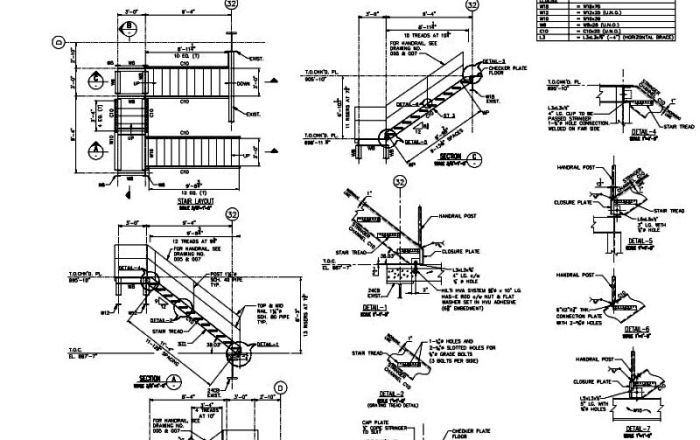 Attractive Steel Sample Drawings Stair Case Detail 01