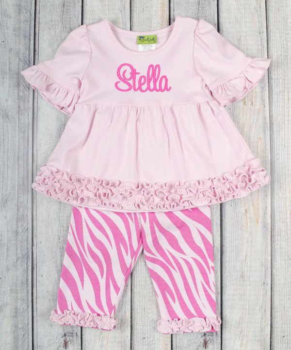 Look at this Pink Personalized Tunic & Leggings - Infant, Toddler & Girls on #zulily today!