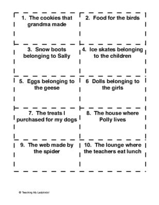 Singular And Plural Possessive Noun Task Cards 4th Grade