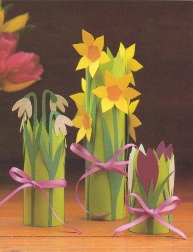 Rond Keukenrol Bosje Voorjaarsbloemen Maken Blumen Basteln Basteln Fruhling Basteln Fruhling Ostern