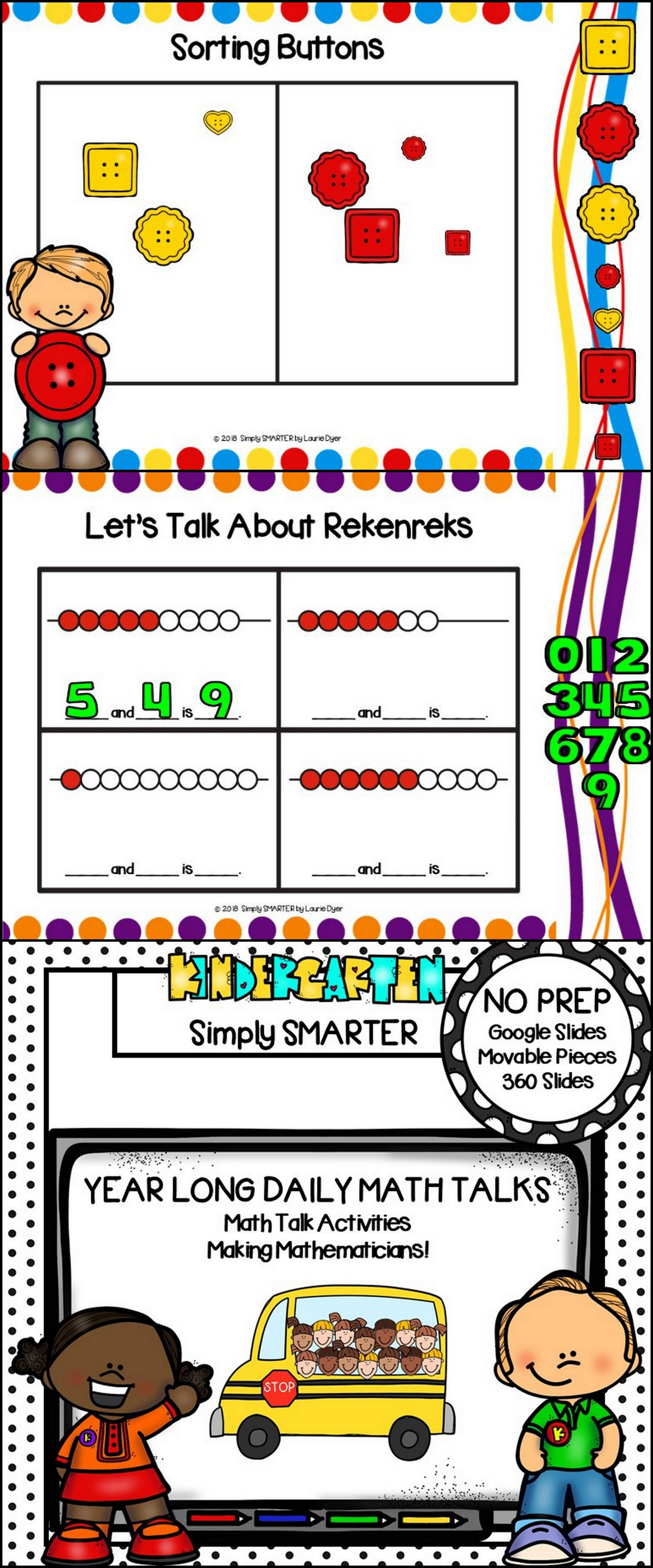 Kindergarten Digital Daily Math Talks For GOOGLE SLIDES Year Long ...