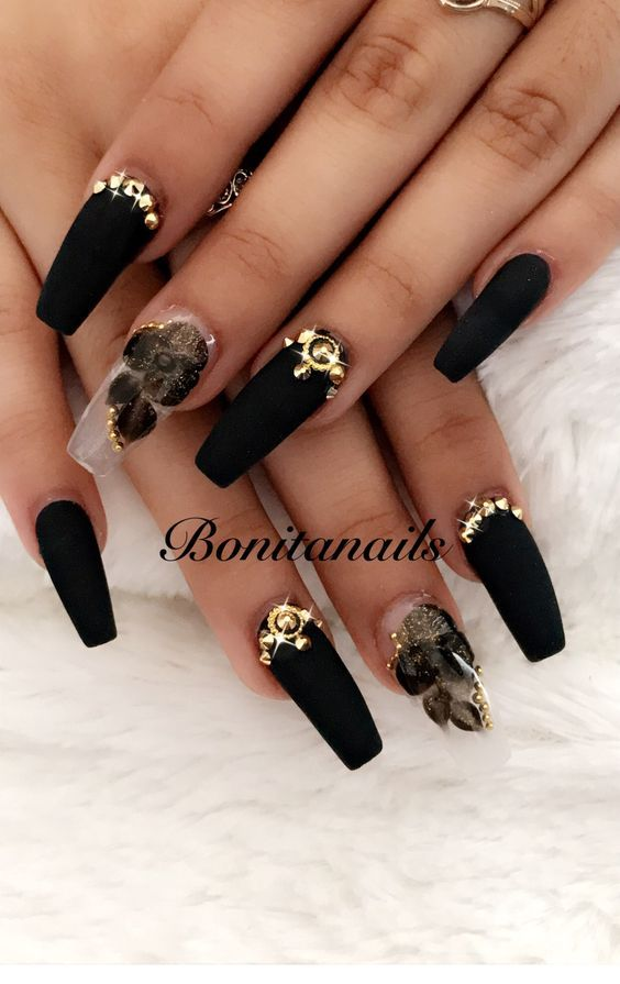 73 Best Acrylic Coffin Nails Ideas With Dark Colors Fall Winter With Images Nails Design With Rhinestones Black Nail Designs Coffin Nails Designs