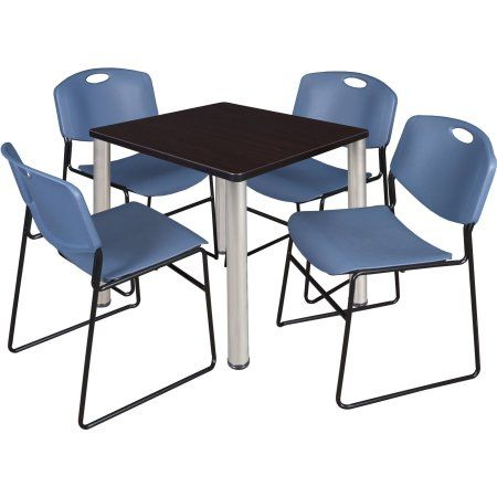 Kee 30 inch Square Breakroom Table- Mocha Walnut/ Chrome & 4 Zeng Stack Chairs- Blue, Silver