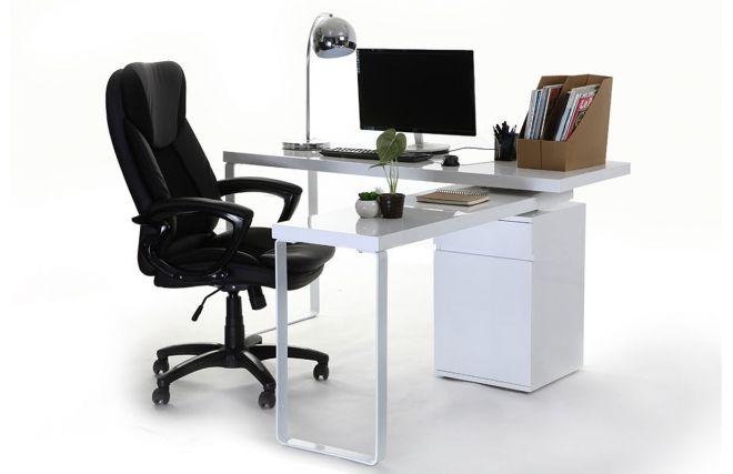 Bureau design amovible blanc brillant voxy droite appart