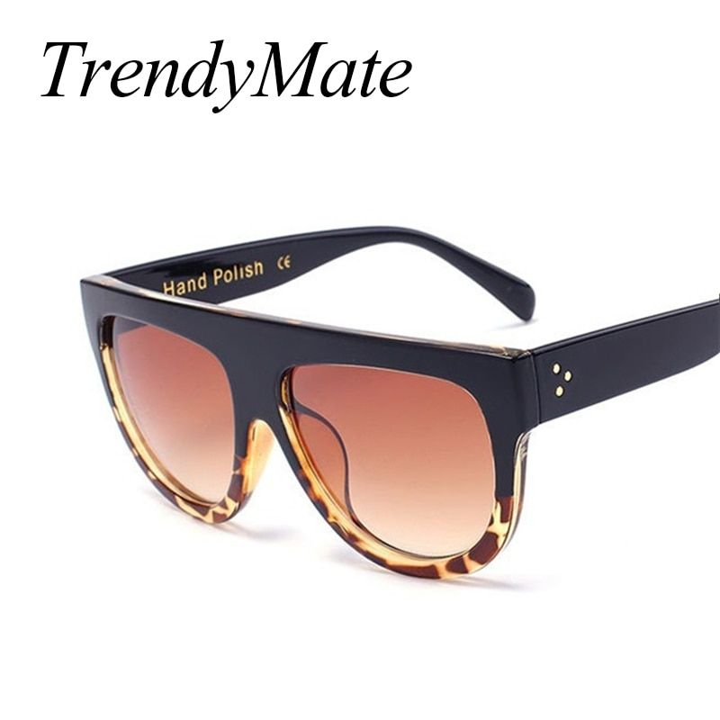5845a11bc9a Fashion Sunglasses Women Brand Design Gradient Sun Glasses Female Rivet  Shades Flat Oversize Shades Sunglass UV400 M100