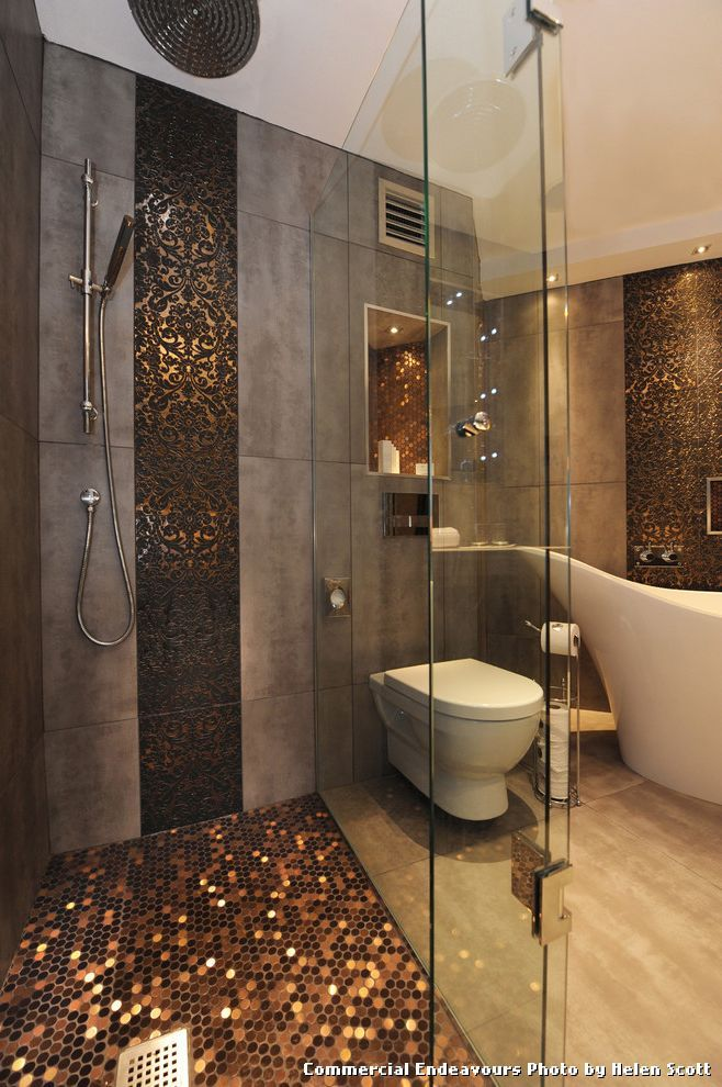 Sparkle Floor Tiles With Contemporary Bathroom And Accent Tiles