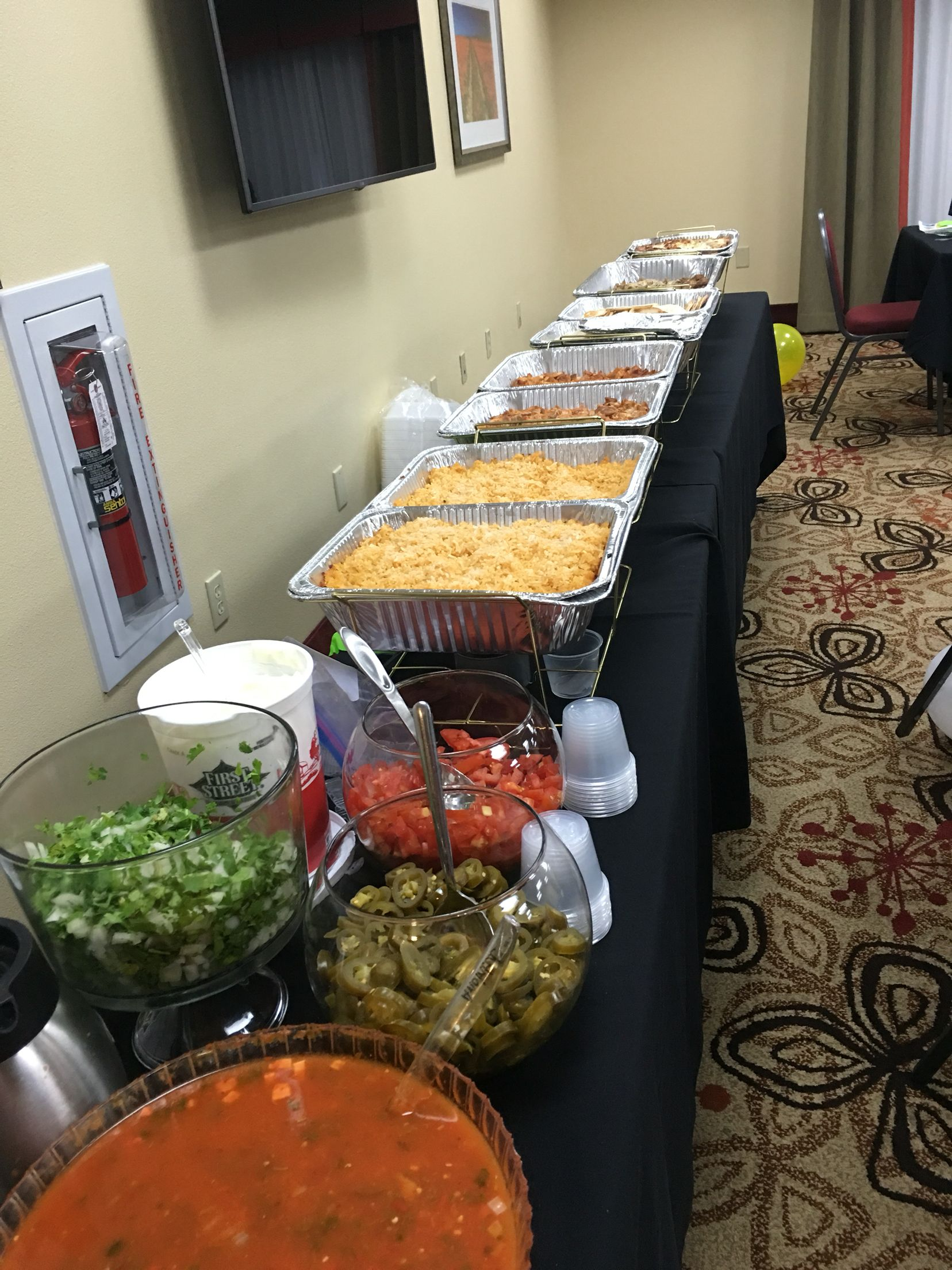 Taco Bar Lucheon Buffet Style Authentic Mexican Food By Anointed Party Food Buffet Buffet Food Mexican Buffet