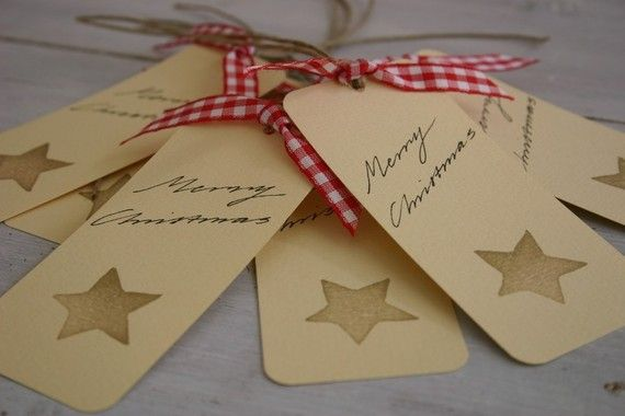 Hand Stamped Gift Tags  Golden Star by Skapligt on Etsy, $8.00
