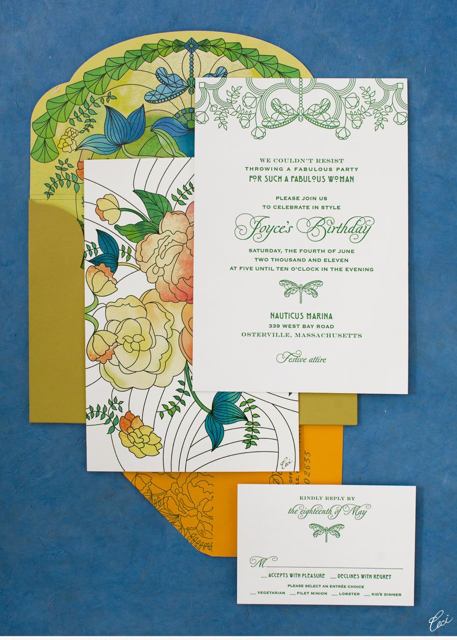 Ceci Style floral birthday party invitation set, watercolor effect ...