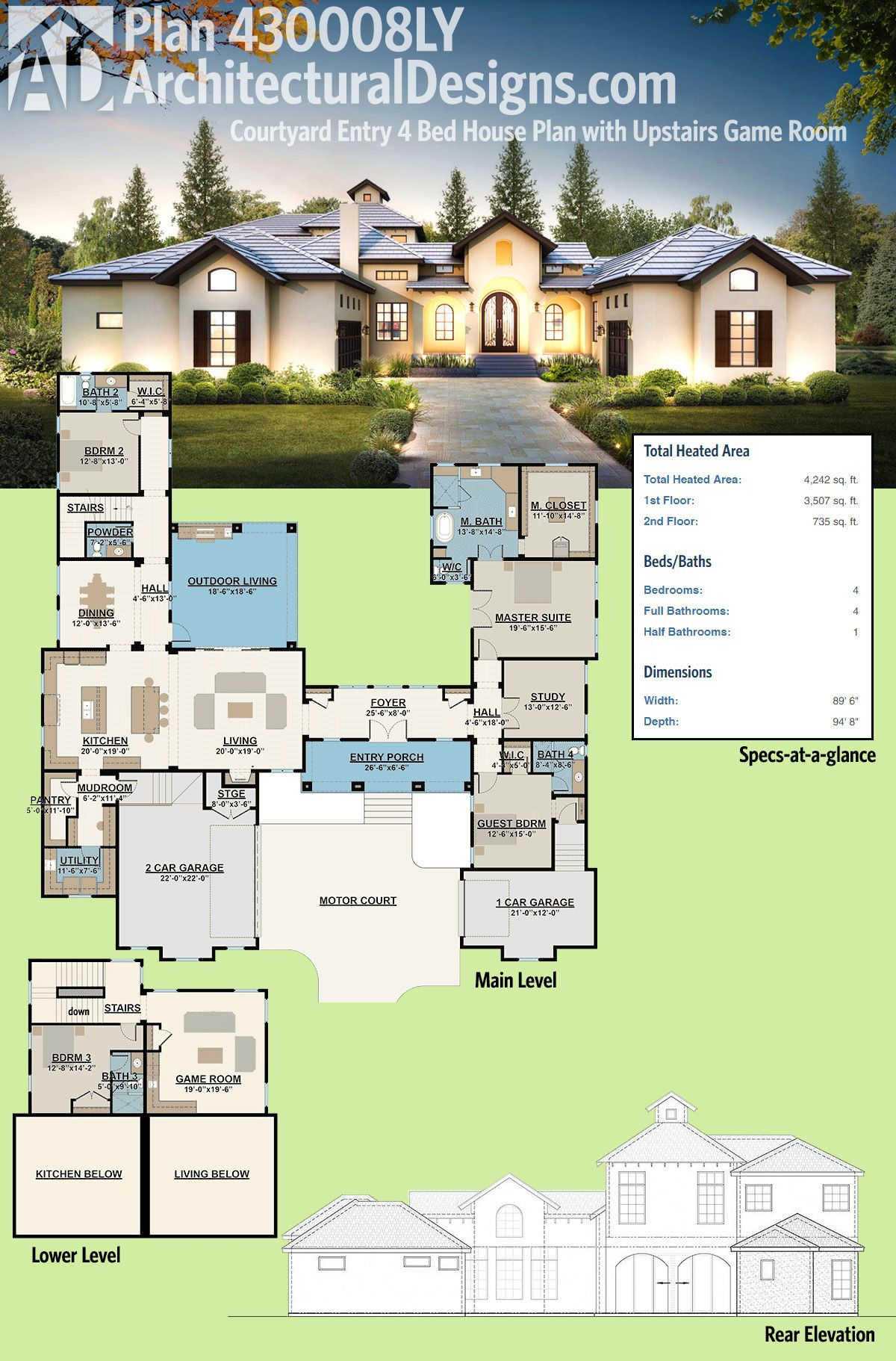 Plan 430008ly Courtyard Entry 4 Bed House Plan With Upstairs Game Room Pool House Plans Courtyard House Plans Mediterranean House Plans