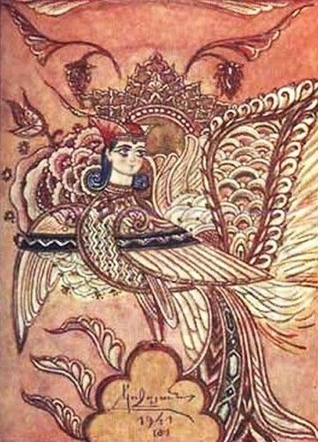 Птица сирин в нарисованная