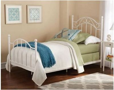 62420 Furniture White Metal Bed Frame Headboard Footboard Iron