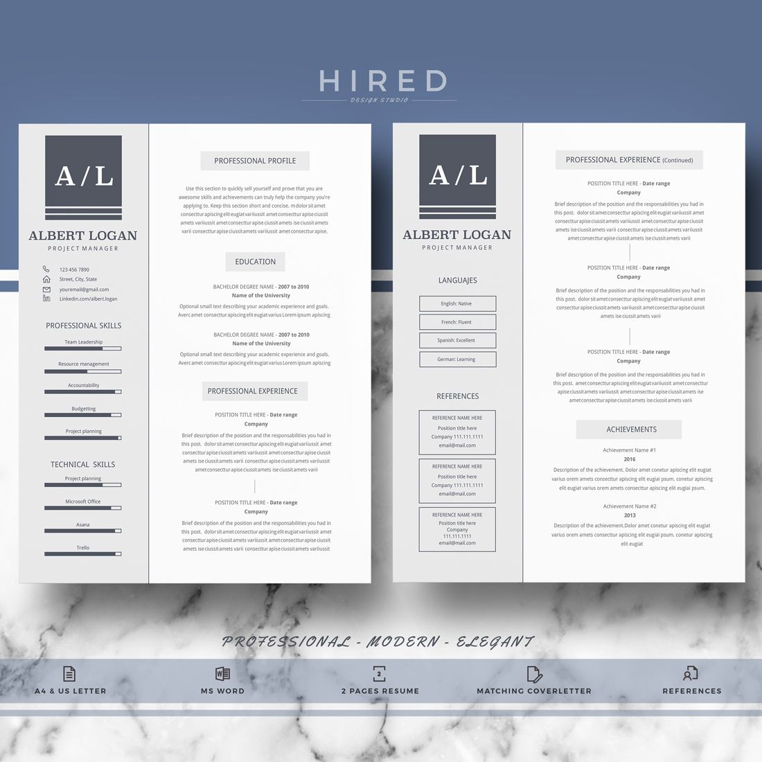 Albert  Professional Resume Template  Minimalist Resume Ms Word