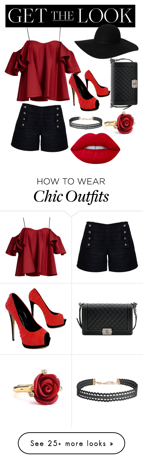"""The celeb look"" by hanksbeauty on Polyvore featuring Anna October, Rumour London, Monki, Giuseppe Zanotti, Chanel, Humble Chic, Oscar de la Renta, Lime Crime, GetTheLook and hats"