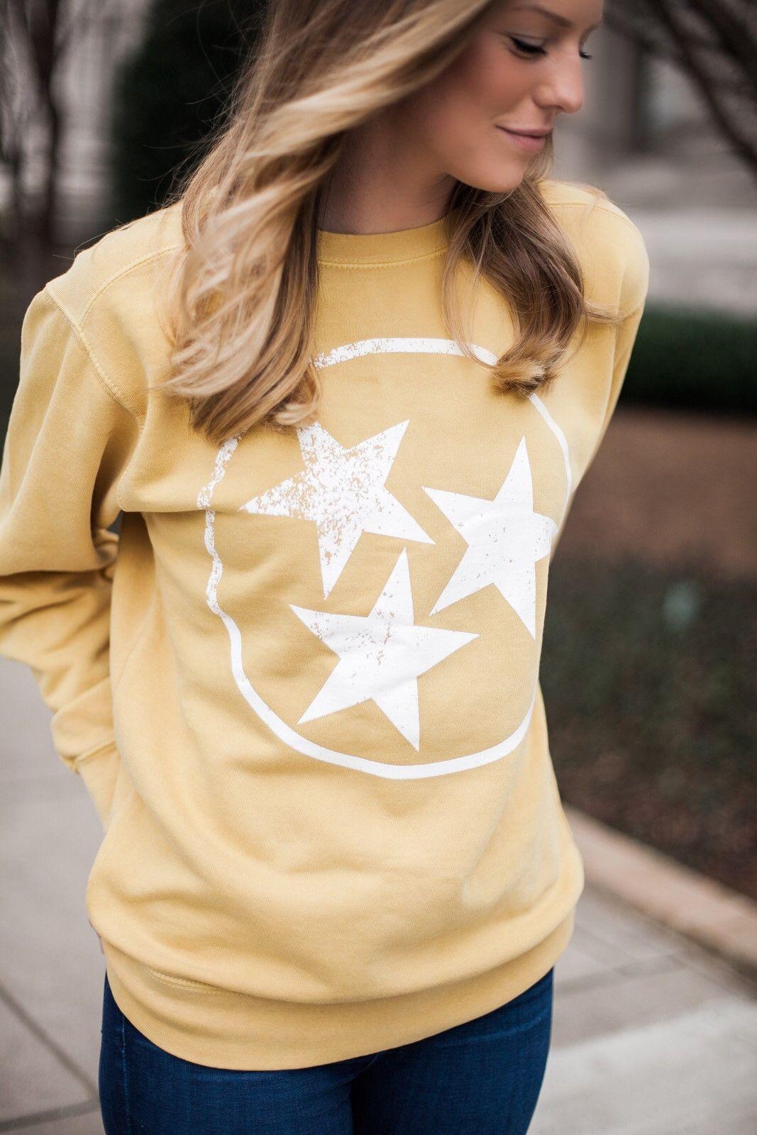 Tri Star Comfort Colors Crewneck Sweatshirt In Mustard Gold 9 5