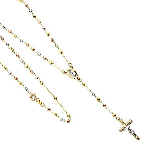 Tri Color Guadalupe Crucifix Necklace Spring Ring