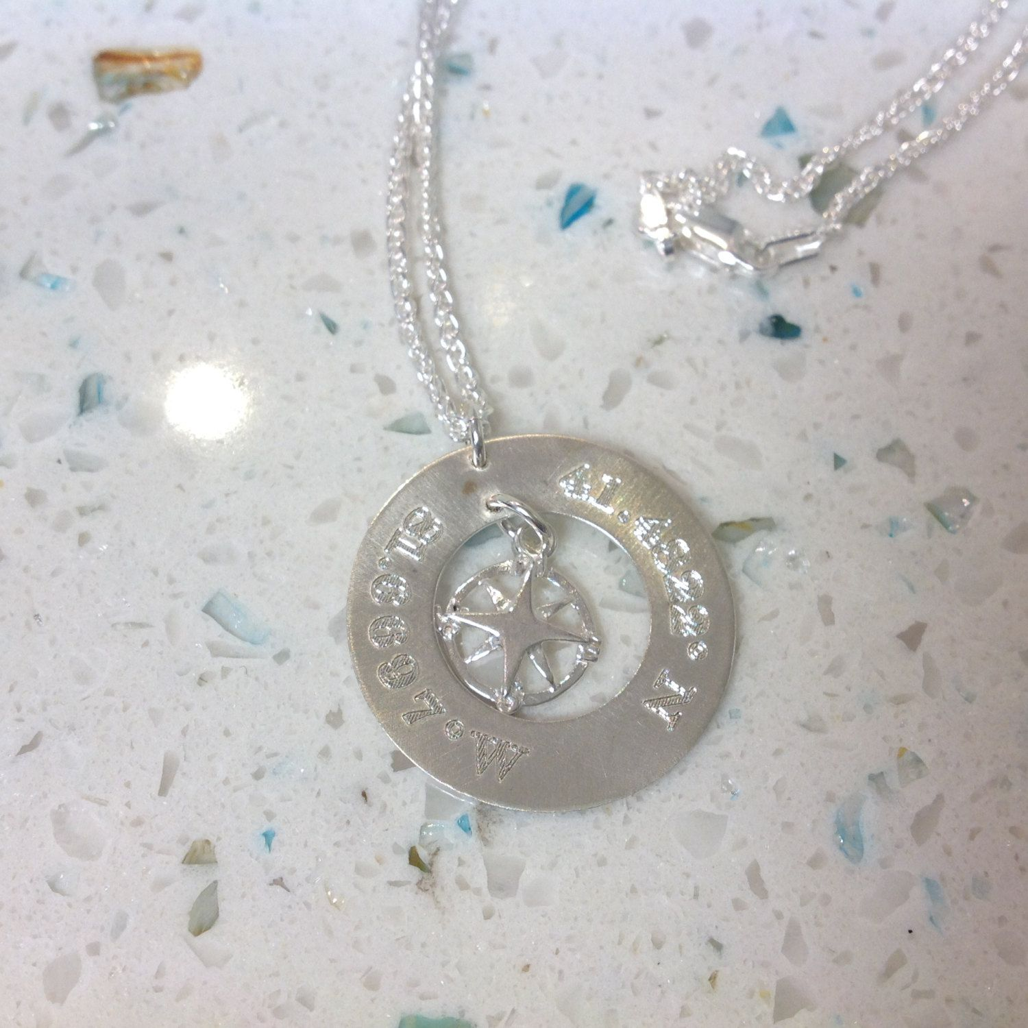 engraved custom butler necklace pendant name turquoise and cherish aqua id products first heart shona