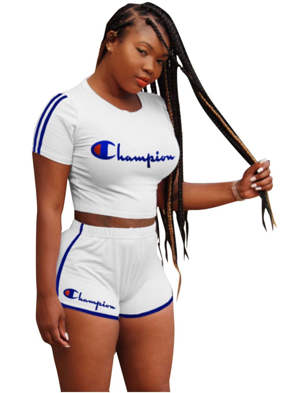 8e4eca164ecf2 CHAMPION Short Sleeve Sport Shorts Set Short Set Women Set Sexy Lingeire
