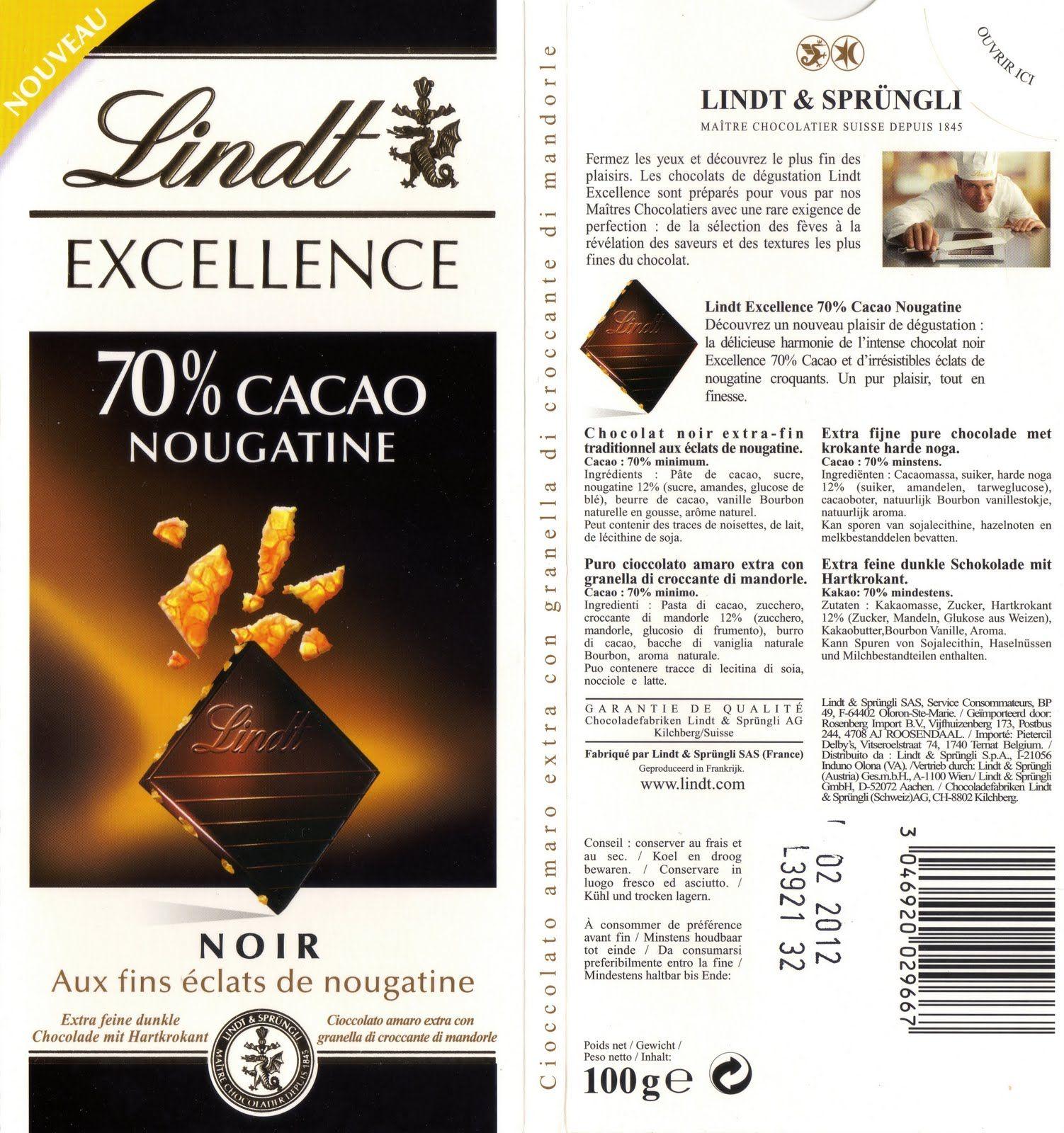 tablette de chocolat noir gourmand lindt excellence nougatine 70 lindt pinterest. Black Bedroom Furniture Sets. Home Design Ideas