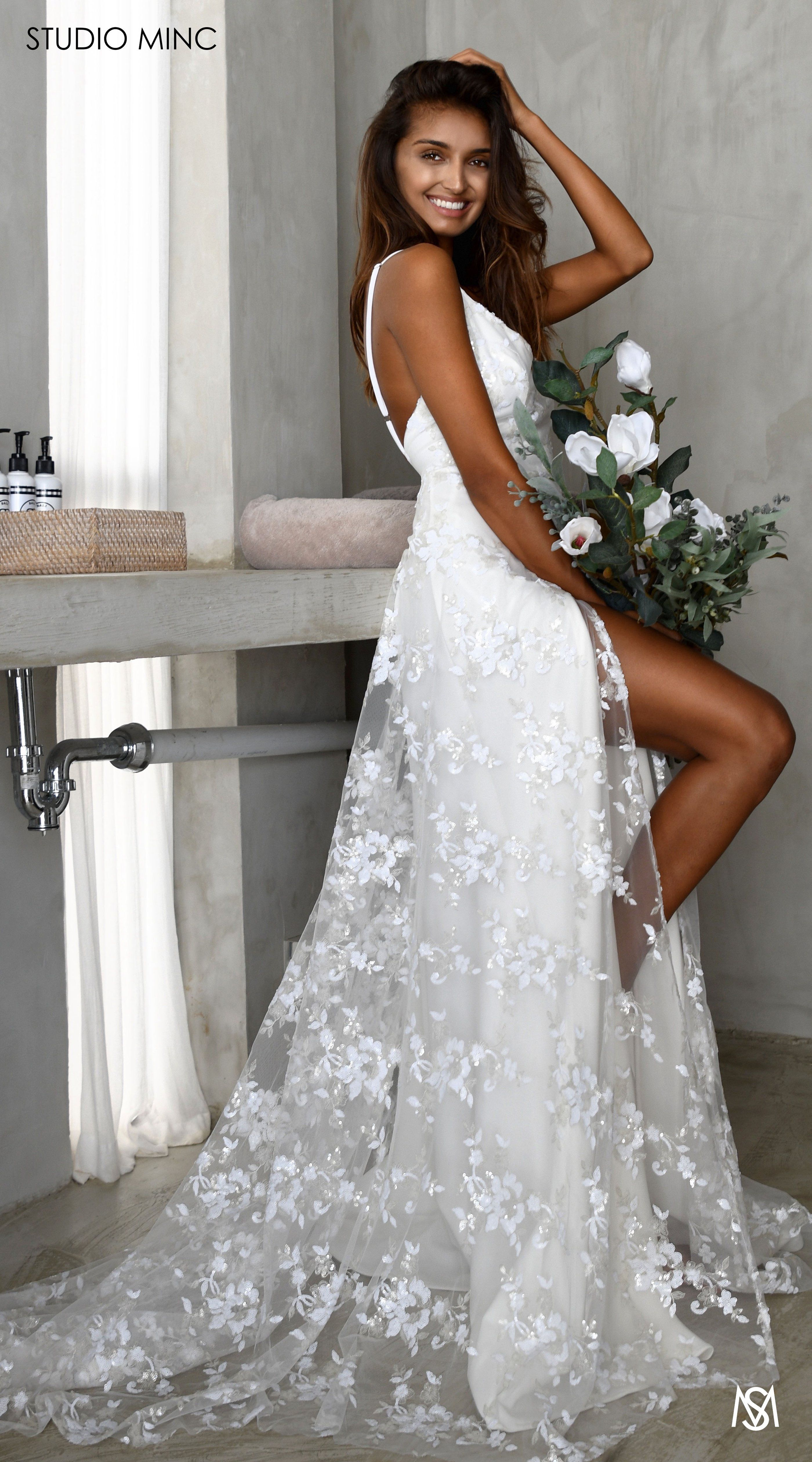 White Devotion Studio Minc Floral Sequin Net With Leg Split And Train Feminine Bridal Big Wedding Dresses Wedding Dresses Embellished Lace Wedding Dress [ 5040 x 2800 Pixel ]