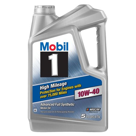 Mobil 1 High Mileage Full Synthetic Motor Oil 10w 40 5 Quart Walmart Com Motor Oil Mileage Fuel Economy