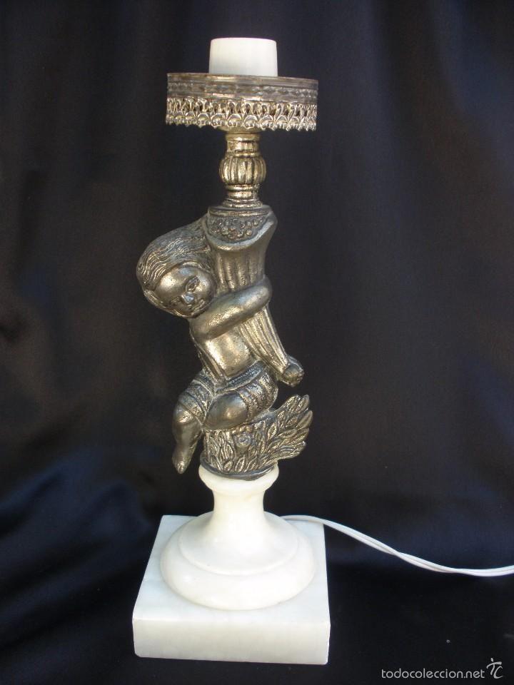 con de de de cuerno bronce con figura Lámpara la niño 7y6fbYgv