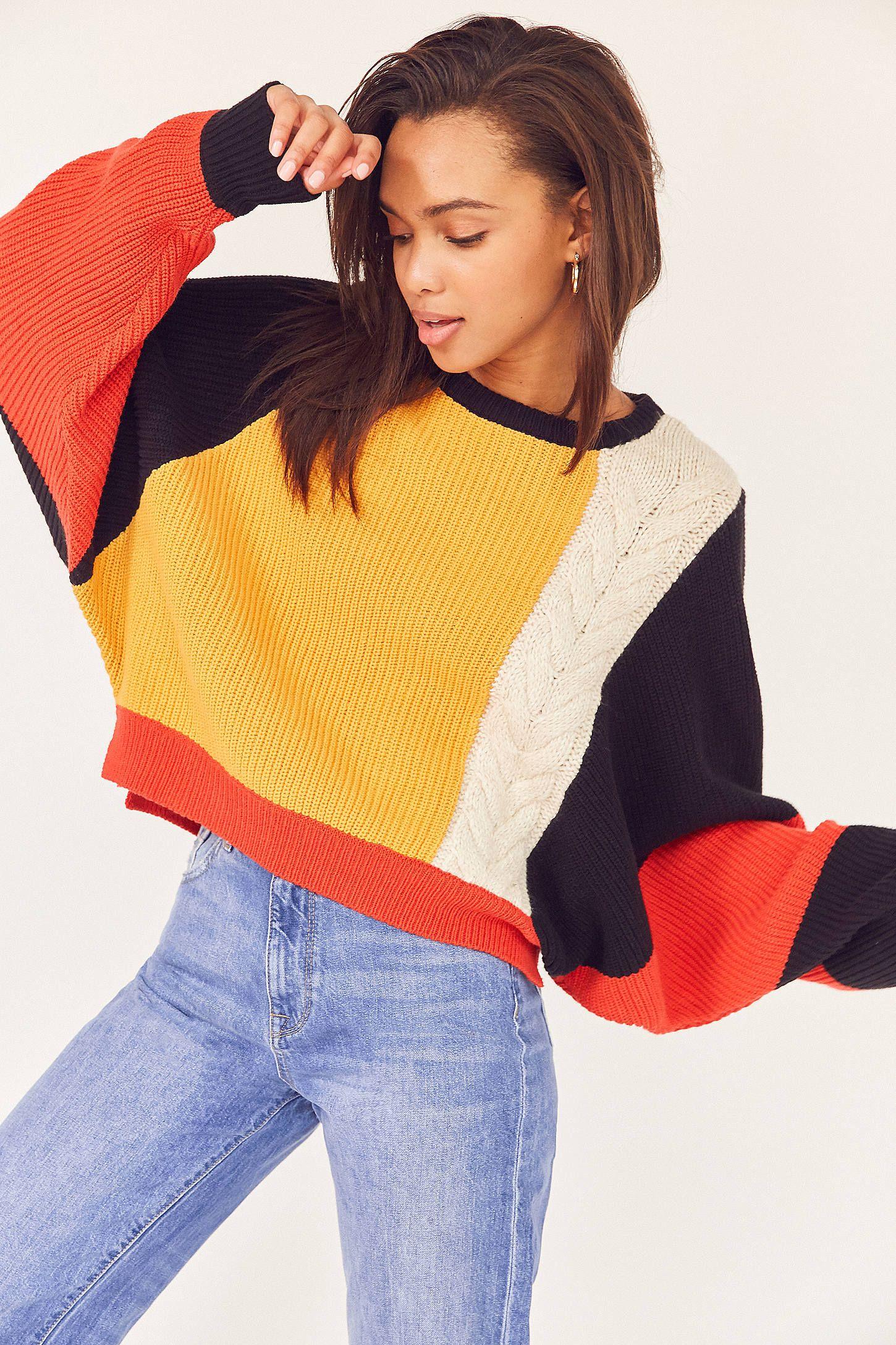 Ecote Mixed Stitch Colorblock Sweater