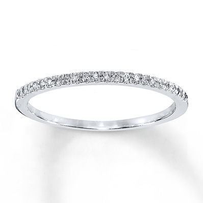 1//10 Ct Diamond Wedding Ring Womens Stackable 10k White Gold Anniversary Band