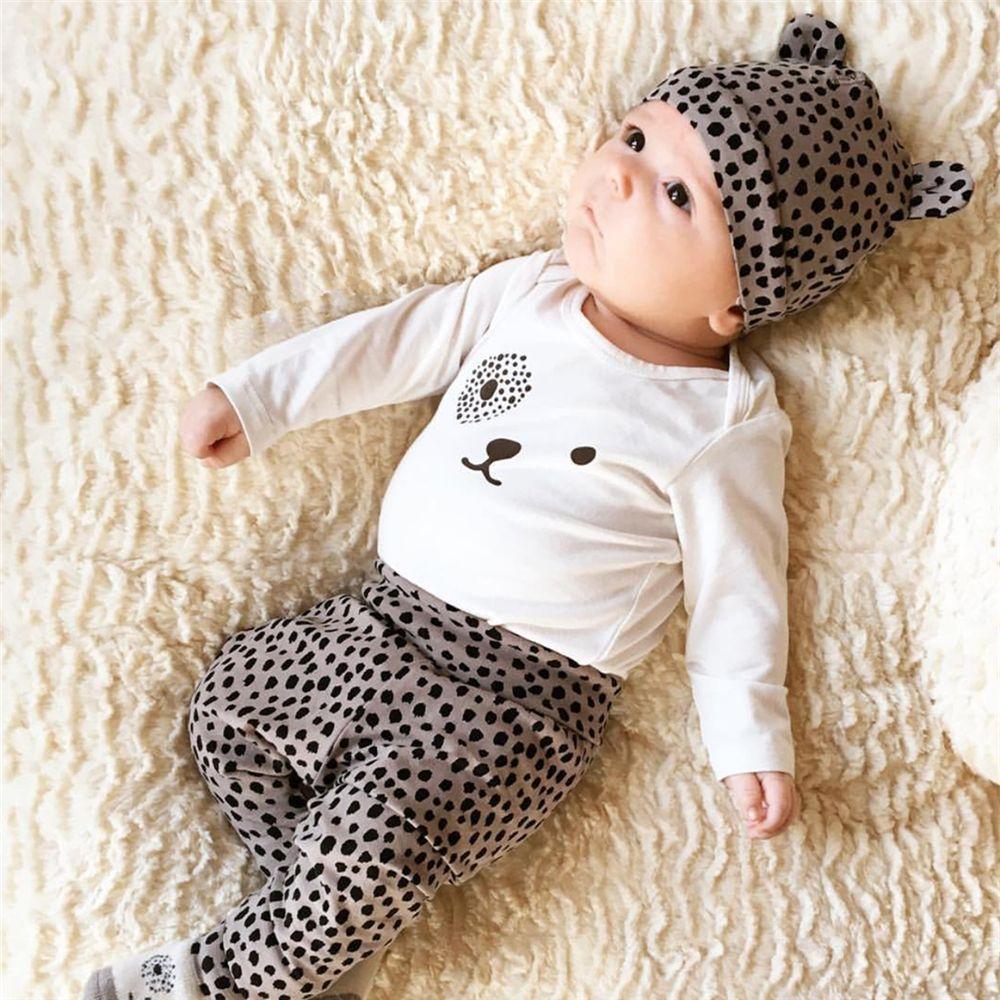 Extrêmement Bébé fille vêtements léopard t-shirt + pantalon + cap nouveau-né  YA15